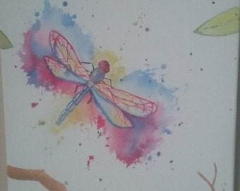Watercolor Dragonfly Painting