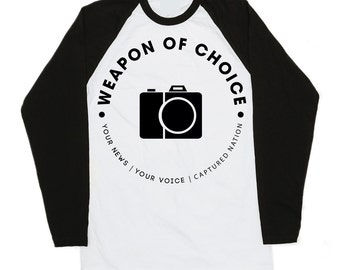 Raglan T-shirt for Photographers - Weapon of Choice - Camera T-Shirt