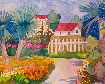 Original Watercolor Painting,Botanical Garden,size 9in x12in,Watercolor Painting,Сactuse,Palm Trees,Watercolor Painting Botanical Garden