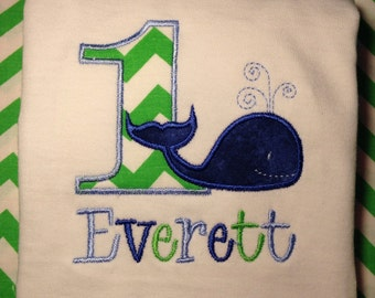 First birthday, embroidered Whale Birthday shirt, First Birthday Shirt, Whale First Birthday, Nautical infant birthday onesie, chevron numbe