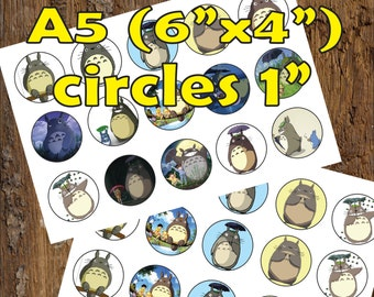 30 Totoro Digital Party Stickers Circles size 1'' sheet A5 (4''x 6'') Bottle Cap images Cupcake Toppers Disney Anime