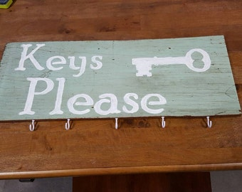 reclaimed wood, painted sign, keys please, with hooks for keys