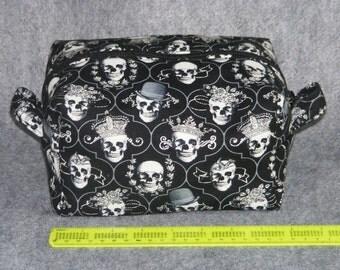 Cosmetic bag, Shaving kit, Dopp kit, Skull print, Gothic print, Black  and grey bag,