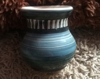 Lovely Unusual Vintage Betws Y Coed Welsh Studio Pottery Striped Small Vase