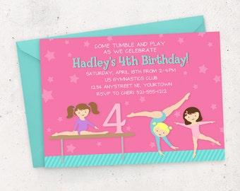 Gymnastics Birthday Invitation - DIY Printable Digital File (Printing also available)