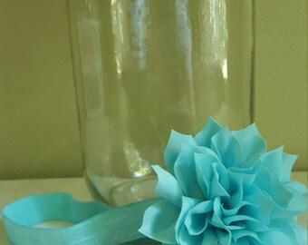 Teal flower infant headband