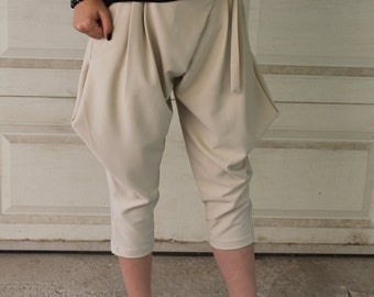 Beige Tapered Breeches | Drop Crotch Trousers | Capri Length Pants | Capri Trousers | Capri Pants | Side Pockets by Silvia Monetti