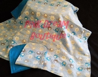 Baby Blue Elephant Blanket, 2 Burp Cloths to Match, Baby Gift Set