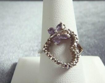 Sterling Silver Amethyst Butterfly Heart Ring RR24