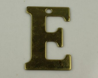 Raw Brass Alphabet Letter E Pre-drilled Findings