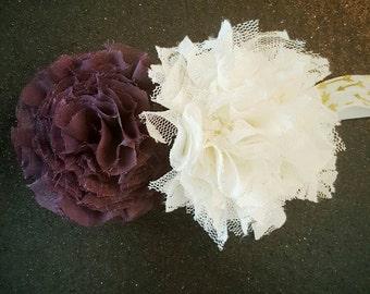 Purple and white lace flower headband