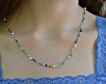 Handmade wire wrapped multi-color necklace