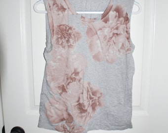 Grey and pink floral tank top