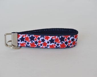 Patriotic Red, White and Blue Stars Key Fob Lanyard