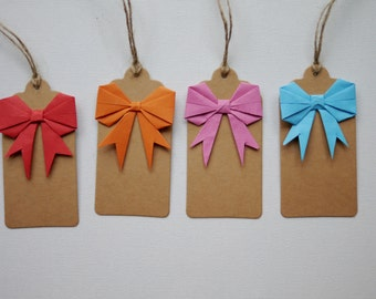Origami bow gift tags x4