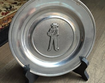 Wilton Columbia PA USA Pewter Collectible Plate Man Rooster RWP Vintage