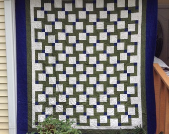Navy and Green Disappearing Nine Patch Quilt