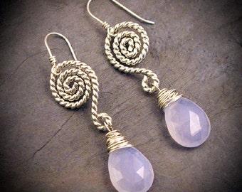 Blue Moon - Chalcedony & Silver earrings