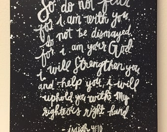 Isaiah 41:10 Bible Verse 11x14 Quote Canvas Painting