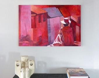 Original painting, unique, acrylic, collage, abstract, fine art modern, graphic, red, pink, travel, meditation, papers, decorative, wall art