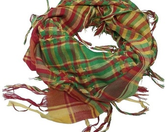 Red-Green-Yellow Rojava SCARF KURDISH Scarves Shemagh Keffiyeh Senegal Mali Africa COTTON