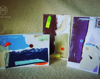 Contrast bunch - set of 3 handmade paper postcards, painted cardboard, collage, abstract forms