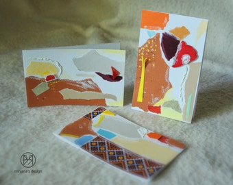 Autumn Fairies - set of 3 handmade paper postcards, painted cardboard, collage, red, orange, copper, abstract forms
