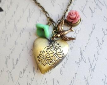 Heart Locket, Flowers and Bird Necklace. Heart Locket Necklace. Floral Necklace. Bird Necklace. Woodland Necklace. Woodland Wedding.