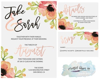 Pink Floral Water Color Wedding Invite