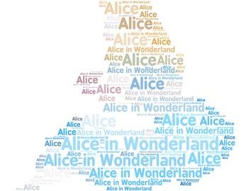 Personalised Alice in Wonderland Word Art picture print