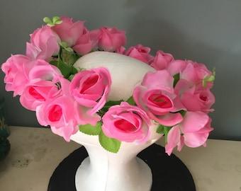 Pink rose floral headdress