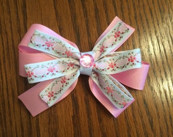 Pink Flowered Hair Bow, Hair Bow, Girls Hair Bow