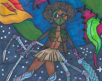 Captain Stitches Science Fiction Art Print