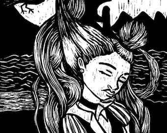 Bird Hair Woodcut Print