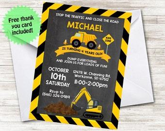 Construction Birthday Invite Party DumpTruck Invitation 5x7 Digital Personalized Boy Kids Children