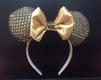 Minnie mouse ears, gold ears, disneyworld, gold bows, headband, Minnie Mouse