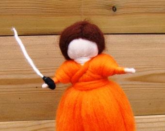 Riley felted boy waldorf felted knight Wool felt boy with sword Orange Xmas boy Needle felted Elf kendal fairies waldorf pixie needle felt