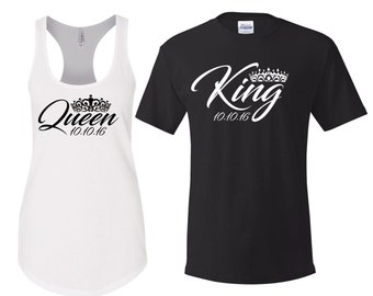 King Queen Shirt, King and Queen Shirts, Hubby Wifey Shirts, Hubby shirt, wifey shirt, honeymoon shirts, engagement gift, Mr and Mrs Shirts