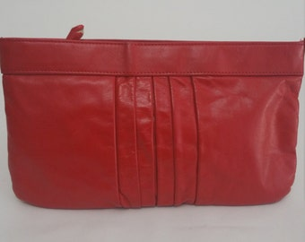 Red Leather Vintage Clutch - 80s
