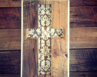Cross made from antique barn wood