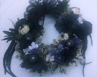 Black, White and Gray Halloween Pumpkin Faux Floral Decorative Door Wreath