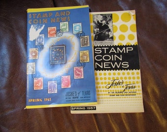 Vintage Stamp and Coin News Catalogs Magazines, Lot of 2, 1950s