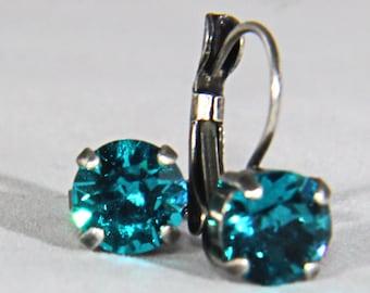 39ss Blue Zircon Swarovski Crystal Hanging Earrings