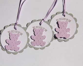 Favor Tag/Favour Tag/Gift Tag. You Brighten My Day. Baby Purple/Mauve. Pack of Twelve.
