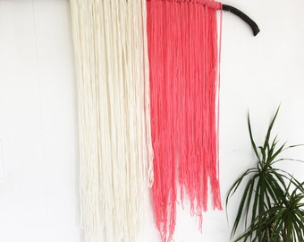 Yarn Tapestry with White and Pink