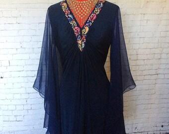 70 s GRECIAN Bohemian LOVE Dress