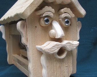 Bearded Man Cedar Birdfeeder