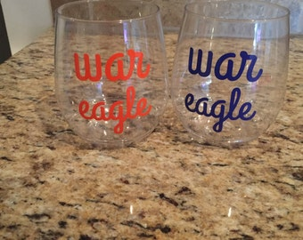 War Eagle Plastic Wine Glass Set