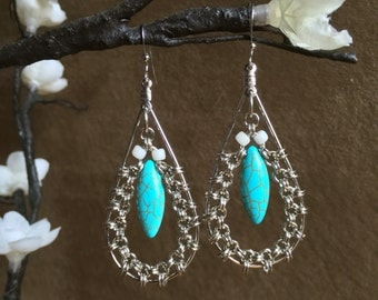Chainmaille and Turquoise Earrings