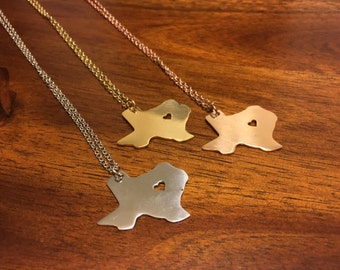 Texas Necklace - Texas Pendant - Texas Charm - Texas Outline - Texas Jewelry - State Jewelry - Texas